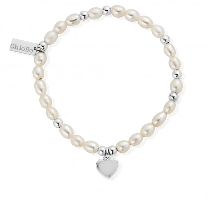 ChloBo Pearl Bracelet with Heart Char