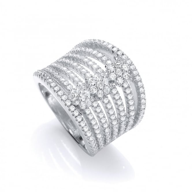 J-JAZ Sparkling 7-Row Ring
