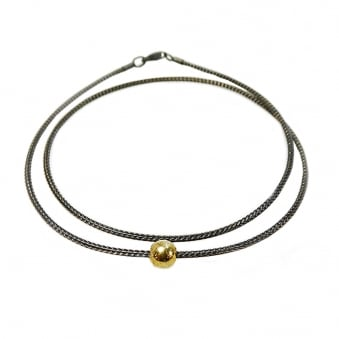 Black Necklace with Gold Charm