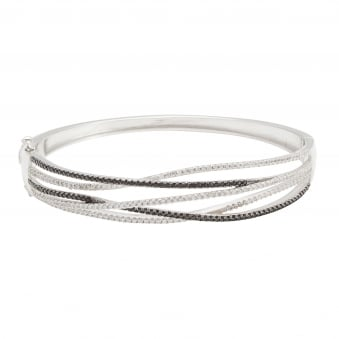 Multi Strand S & Bk Bangle, CZ
