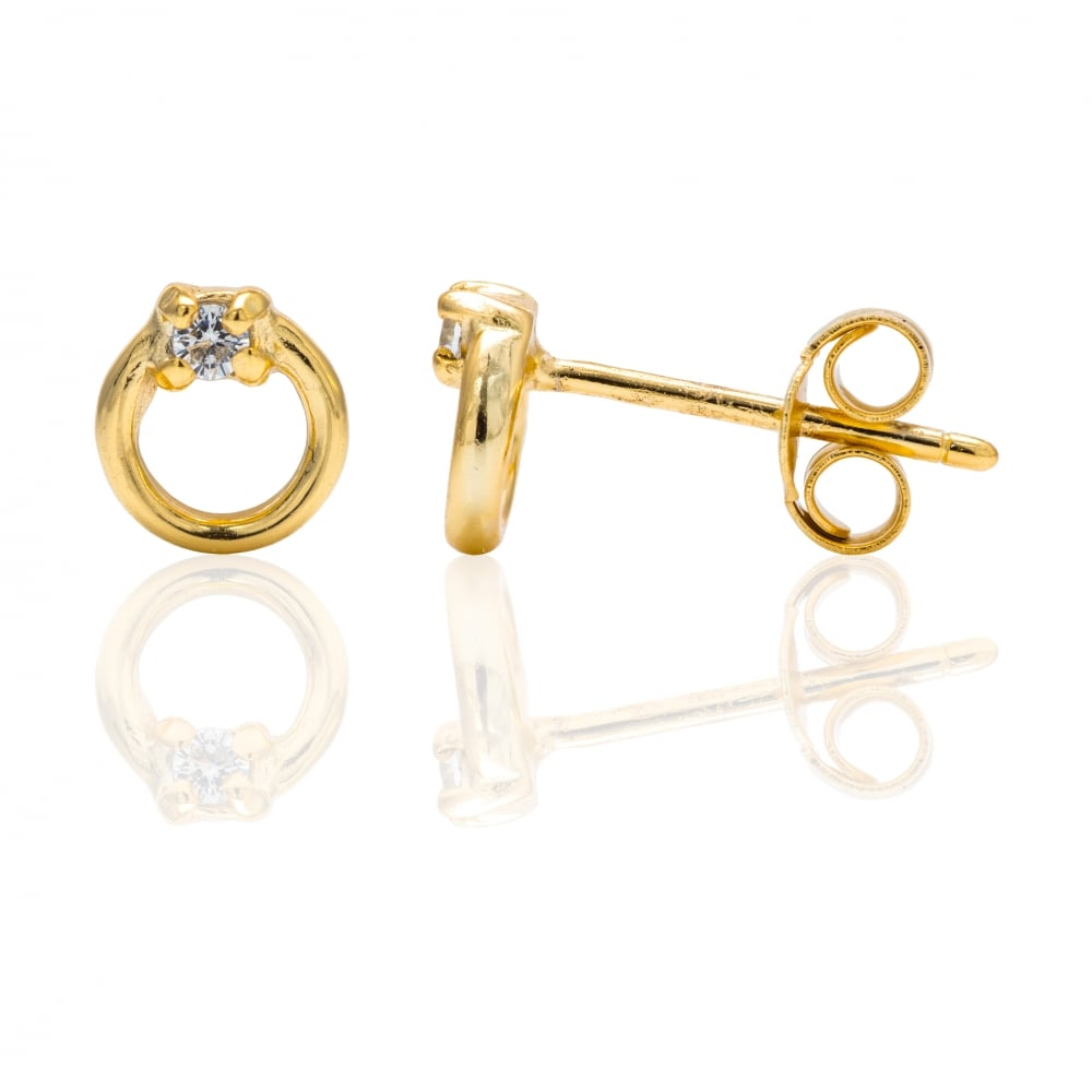 product on earrings karma stud hugerect circle open luulla luck in rose gold